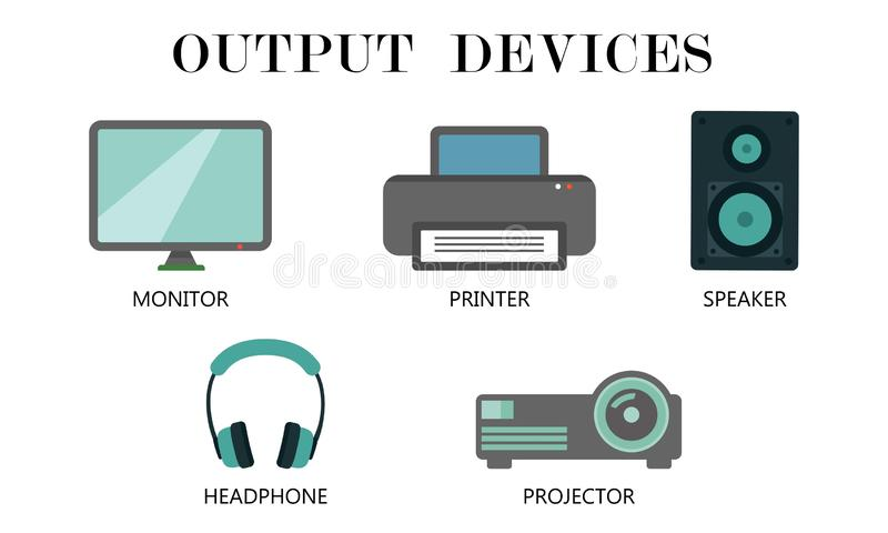 Output Devices icon set. Monitor,Printer,Speaker,Headphone and projector drawing by illustration stock illustration