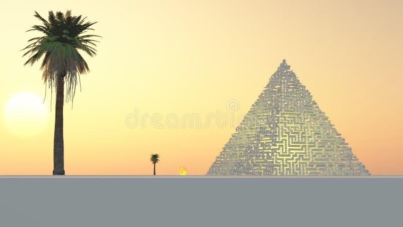 A outra pirâmide worldy do labirinto ilustração stock