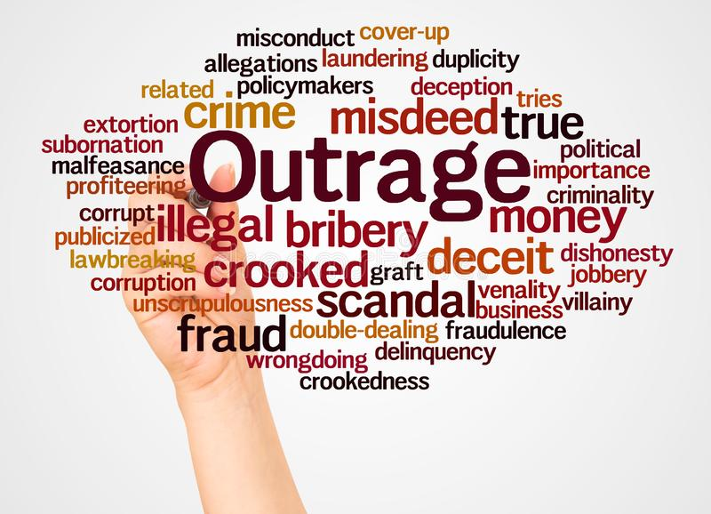 Outrage word cloud and hand with marker concept. On white background stock images