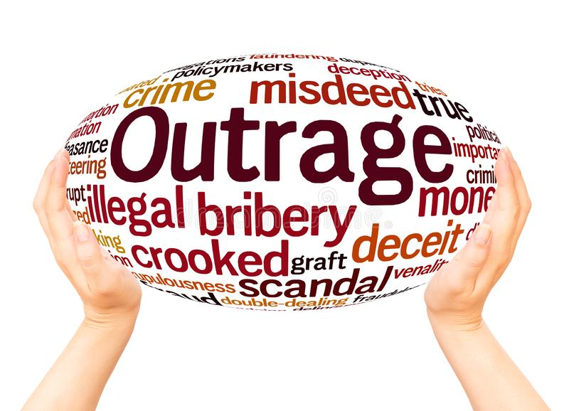 Outrage word cloud hand sphere concept. On white background stock photography