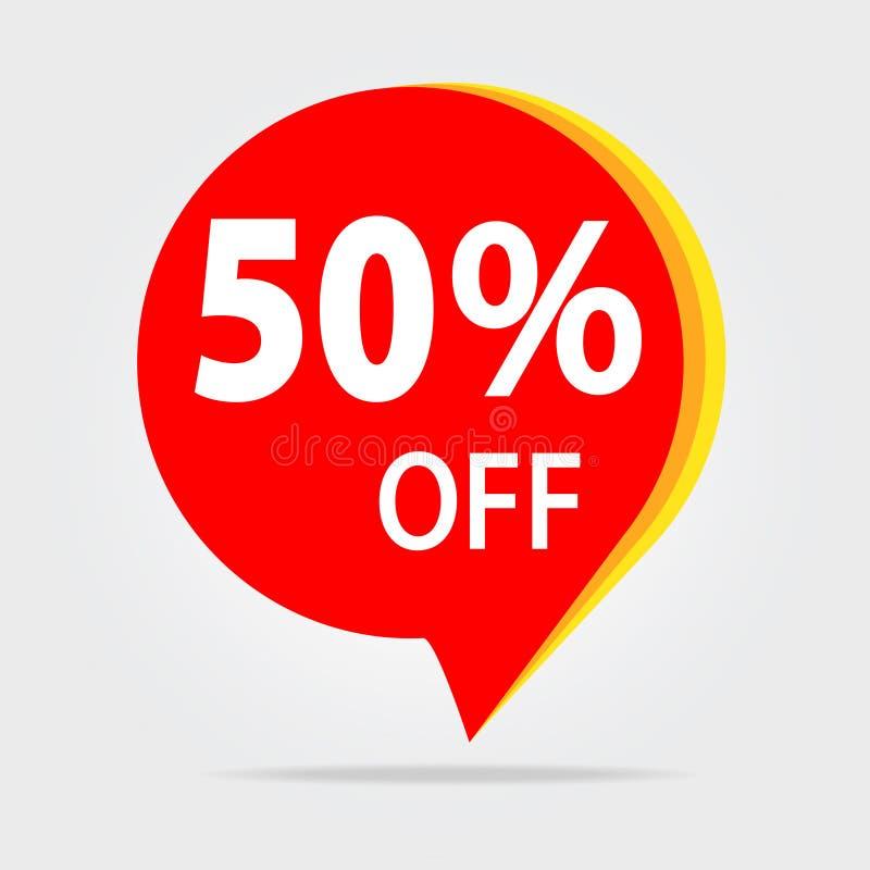 50% OUTRE de l'autocollant de remise Vecteur d'isolement par étiquette rouge Illustrat de vente illustration libre de droits