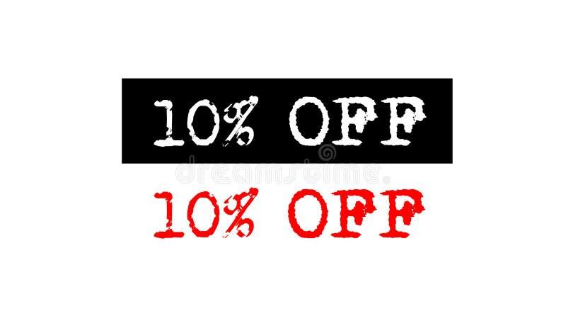 10% outre de l'insigne de tampon en caoutchouc avec la conception réglée de logo des textes de machine à écrire illustration de vecteur