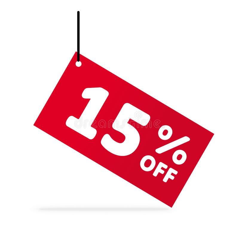 15% outre de la remise Illustration des prix d'offre de remise Étiquette rouge avec le texte blanc illustration de vecteur