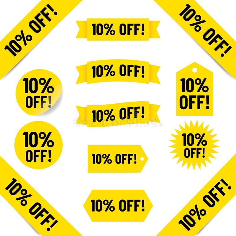 10% outre des étiquettes de ventes illustration de vecteur