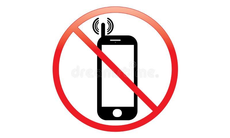 Outre du commutateur de signe de téléphone portable outre de l'icône de téléphone aucun symbole d'avertissement mobile permis par illustration libre de droits