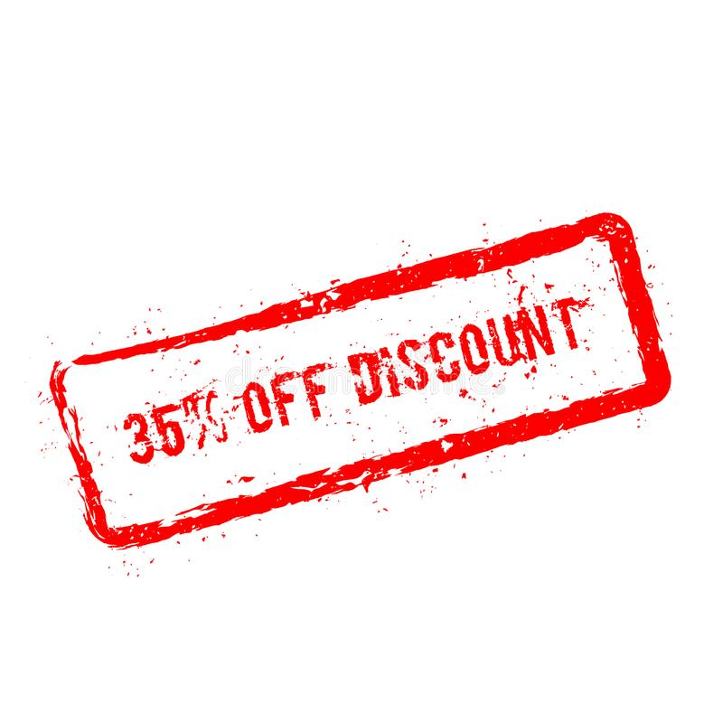 35% outre du tampon en caoutchouc rouge de remise d'isolement dessus illustration de vecteur