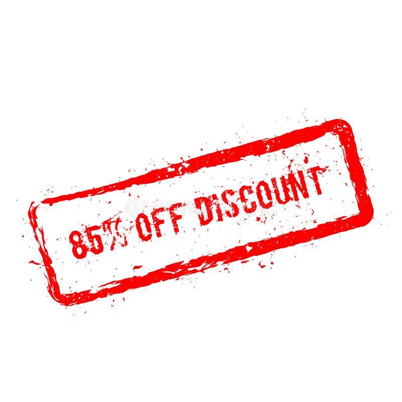 85% outre du tampon en caoutchouc rouge de remise d'isolement dessus illustration stock