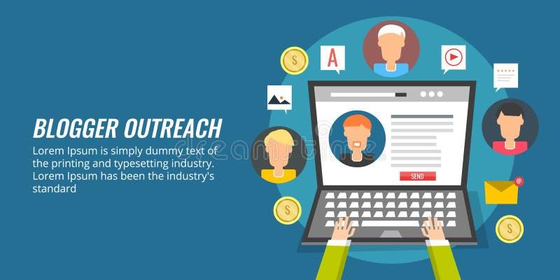 Outreach del Blogger, márketing del influencer, medios promoción social concepto de diseño plano ilustración del vector