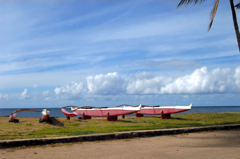Download Outrigger Canoes at rest stock photo. Image of canoes - 18180326