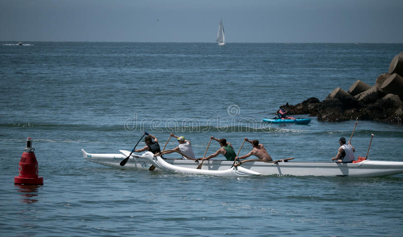 Outrigger team go out to practice, morning in Santa Cruz royalty free stock photography