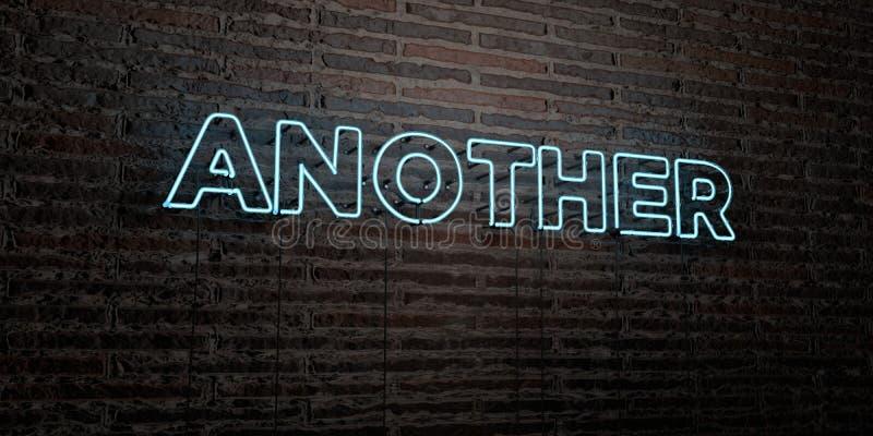 OUTROS - sinal de néon realístico no fundo da parede de tijolo - 3D renderam a imagem conservada em estoque livre dos direitos ilustração do vetor