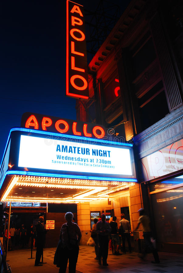 Outside the Apollo. The Apollo Theater is a landmark in Harlem stock photography