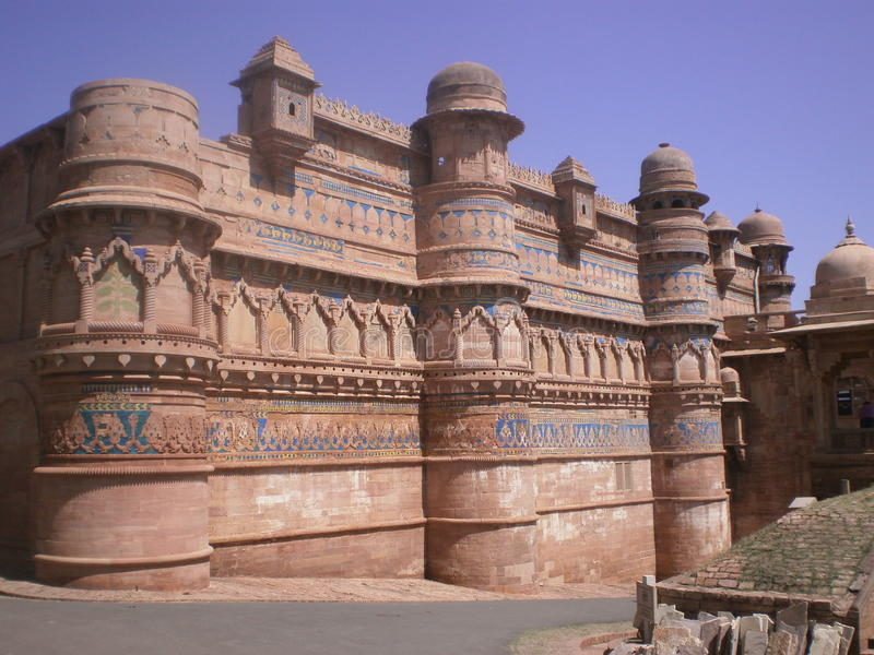 Outside architectural view of maan singh palace, Gwalior fort, India royalty free stock photos