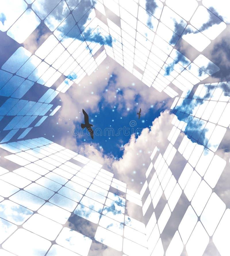 Freedom, thinking outside box, mind maze stock illustration