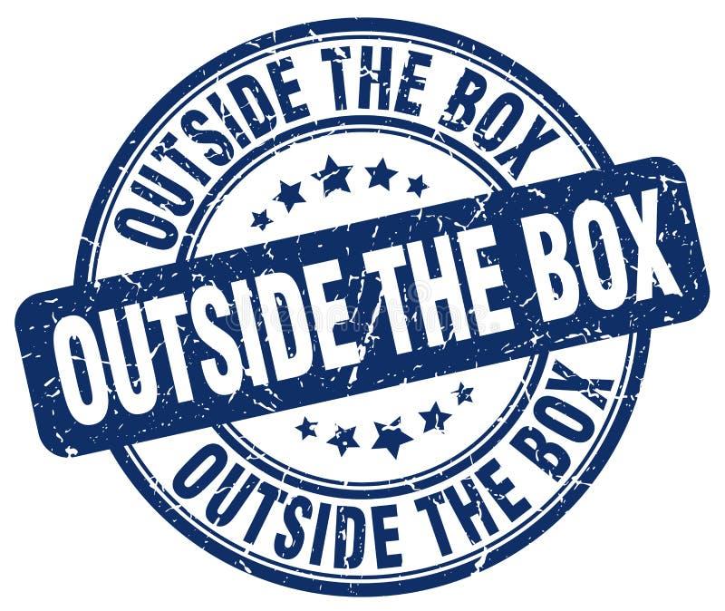 Outside the box blue stamp. Outside the box blue grunge round stamp isolated on white background vector illustration