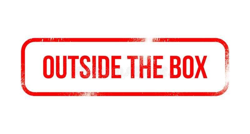 Outside the Box - red grunge rubber, stamp royalty free illustration