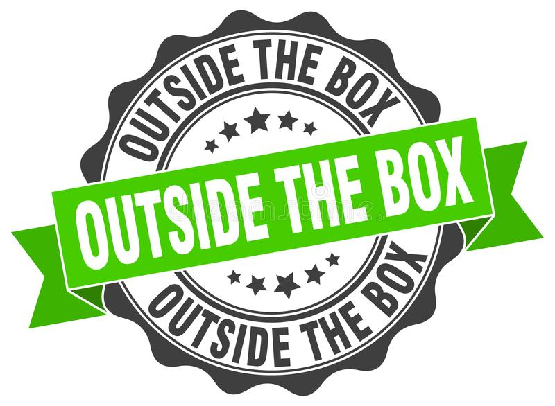 Outside the box seal. stamp. Outside the box round seal isolated on white background royalty free illustration