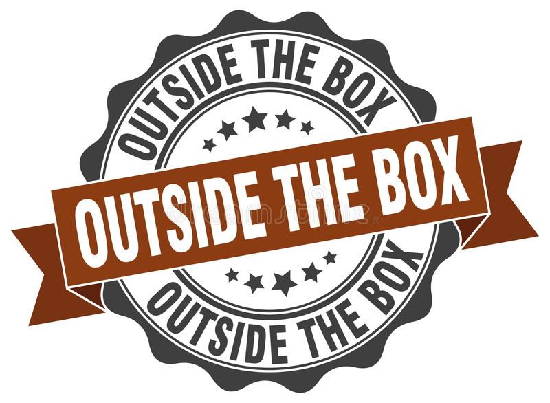 Outside the box seal. stamp. Outside the box round seal isolated on white background vector illustration