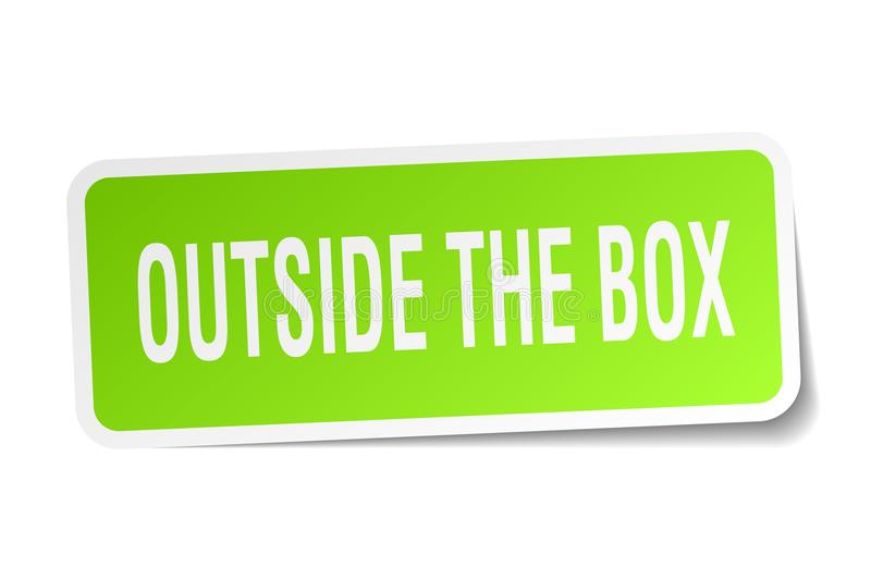 Outside the box sticker. Outside the box square sticker isolated on white background. outside the box stock illustration