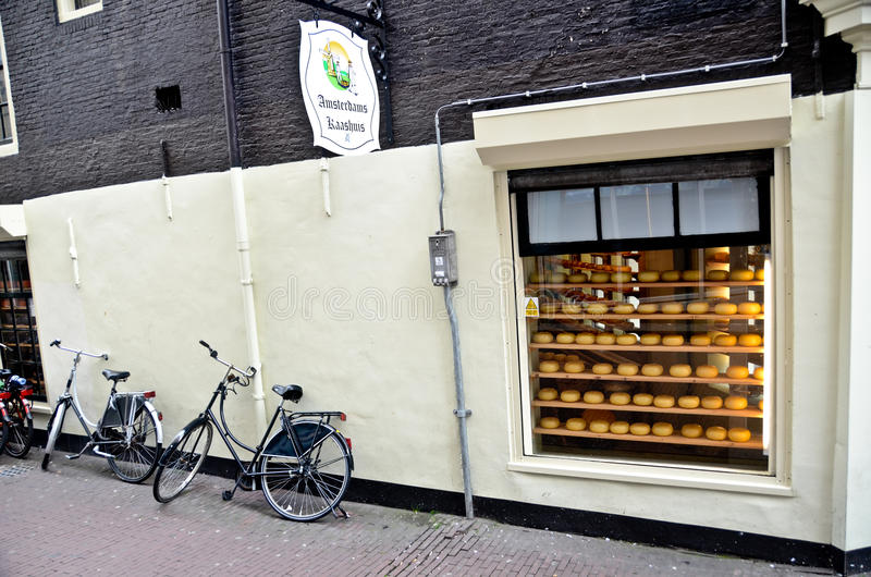 Outside of cheese store in Amsterdam stock image