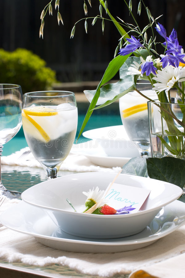 Outside dinner table setting royalty free stock photos