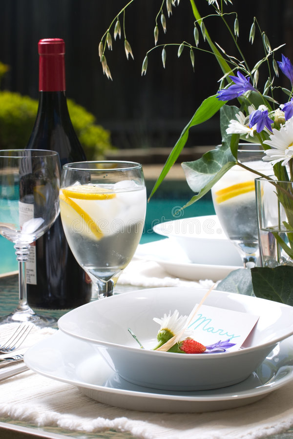 Outside dinner table setting royalty free stock photography