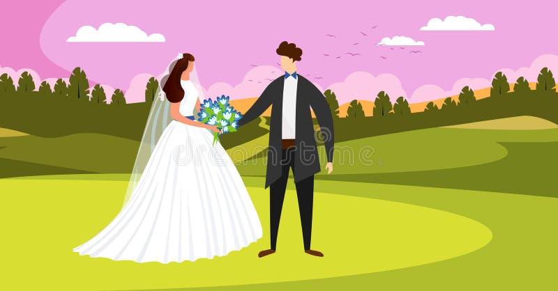 Outside dzień ślubu ceremonia Szcz??liwa Bridal para royalty ilustracja