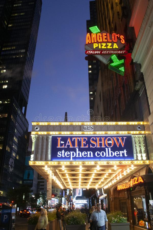 Outside Ed Sullivan Theatre Colbert Show. October 14, 2019 - Ed Sullivan Theatre, New York, USA- Broadway which is home to the Ed Sullivan Theater where Stephen royalty free stock images