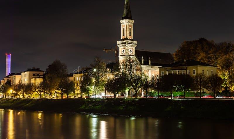 Christuskirche in Salzburg by night royalty free stock image