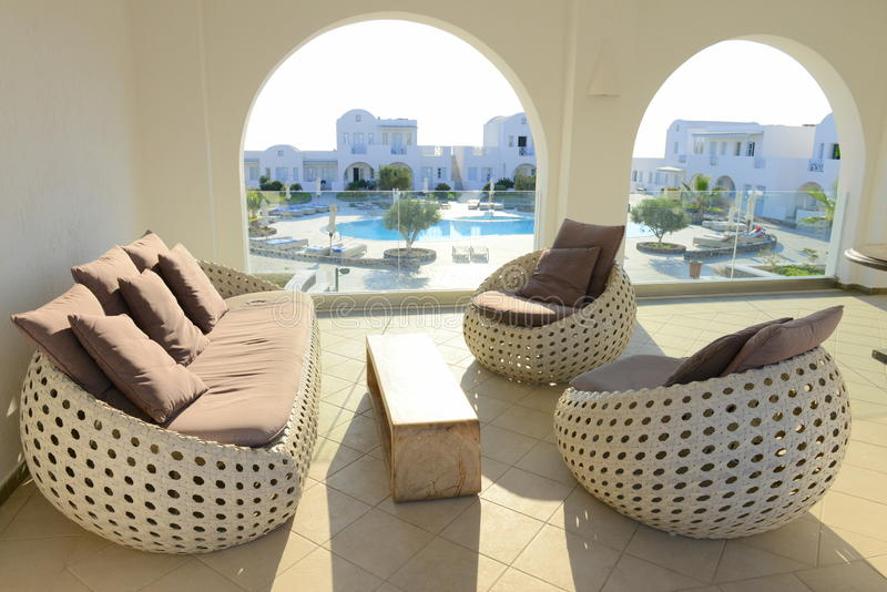 Outside lounge area of a luxurious resort. Furnished lounge area of a summer resort royalty free stock photos