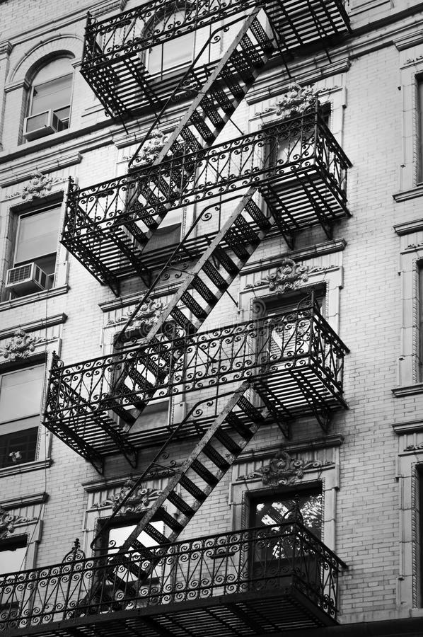 Outside Metal Fire Escape Stairs New York Stock Image