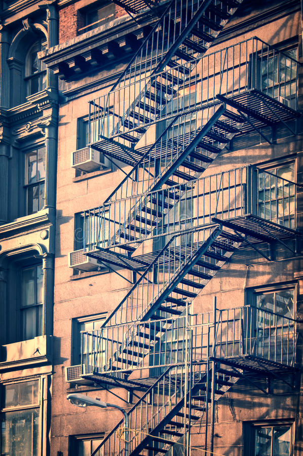 Outside metal fire escape stairs, New York City stock photography