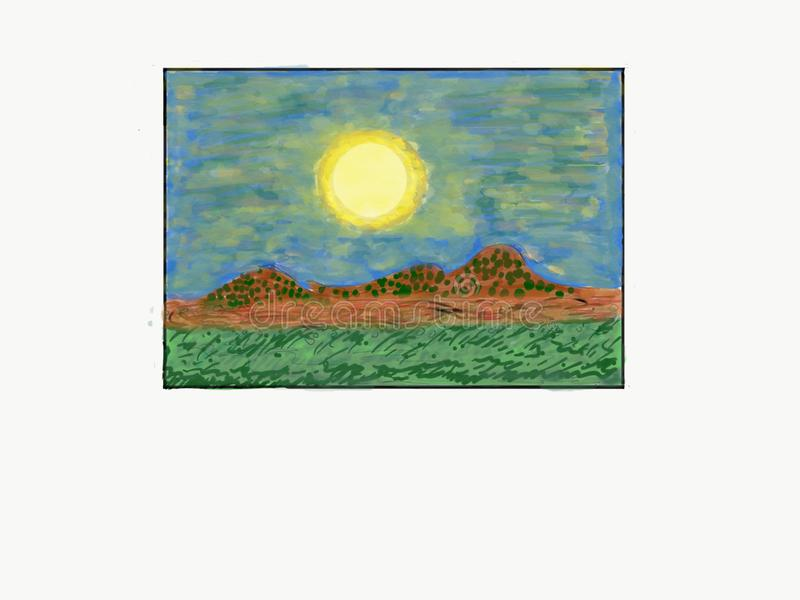 Outside moon over the landscape of mountain, dry brown land, and shaded green grass Photo Art Illustration Background Abstract. This is an illustration of the stock illustration