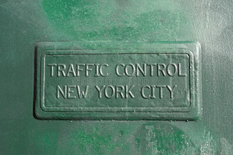 New York City Traffic Control Box. The Outside Panel of a New York City Traffic Control Box stock image