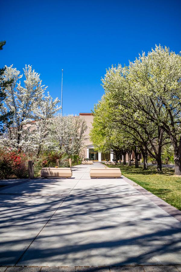 The outside park and garden of Great Seal State of New Mexico in Santa Fe. A gorgeous view of the yard in Santa Fe, New Mexico stock photos