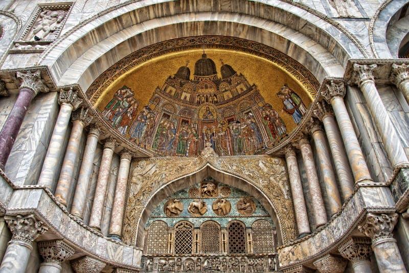 Outside portal of the basilica of Saint Mark stock image