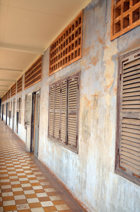 Outside prison of the Khmer Rouge high school S-21 royalty free stock images
