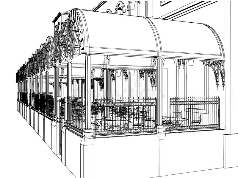 Download Outside Restaurant On A Terrace Vector 02 Stock Vector - Illustration: 18451034