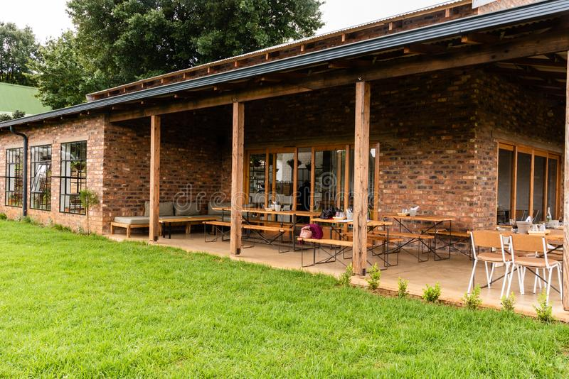 Outside seating area of the Barn Owl restaurant in the Natal Midlands. South Africa royalty free stock images