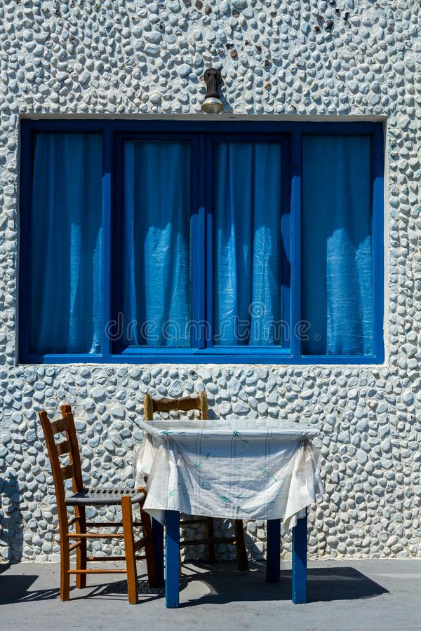 Outside of small restaurant. On Santorni island royalty free stock photo
