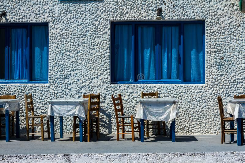 Outside of small restaurant. On Santorni island stock photo