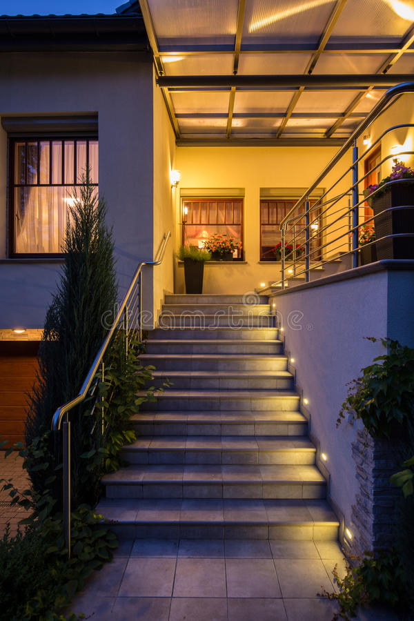 Outside steps with lighting stock photography