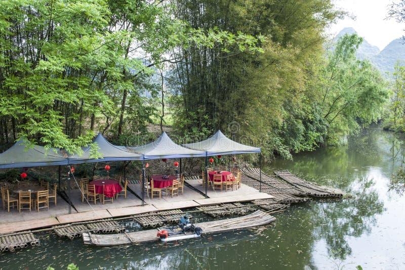 Terrace by the Li-River. Nice outside terrace by the Li-River, China stock photo