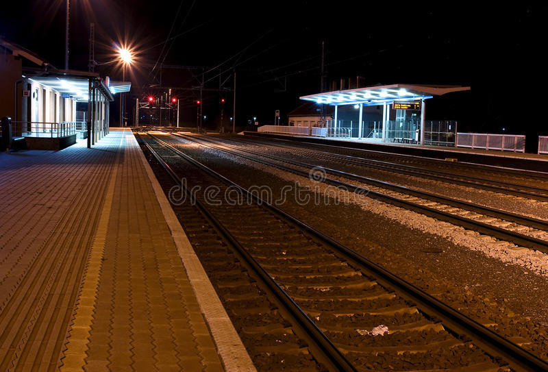 Outside a train station, at night stock photos