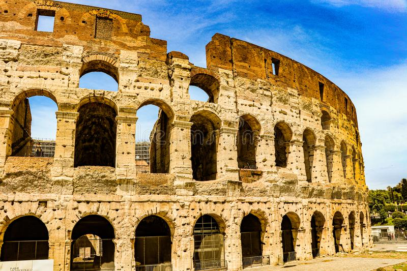 Outside  view of Ancient Colosseum in Rome, Italy. Sightseeing around the Ancient Colosseum in Rome, Italy royalty free stock images