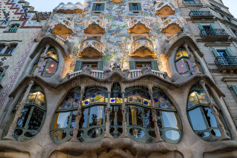Outside view of Casa Batllo with light, Barcelona, Spain royalty free stock photo