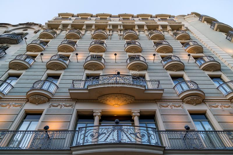 Outside view of Casa Lleo Morera with light, Barcelona, Spain.  stock photo