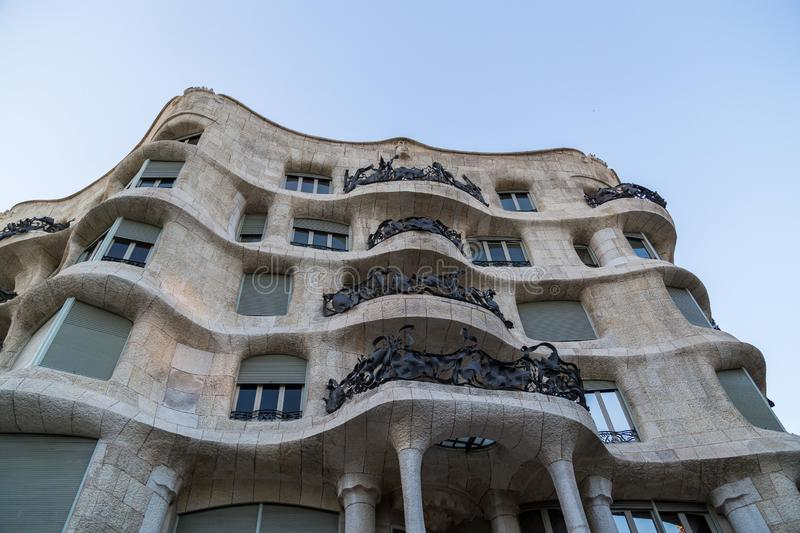 Outside view of Casa Mila, Barcelona, Spain.  stock images