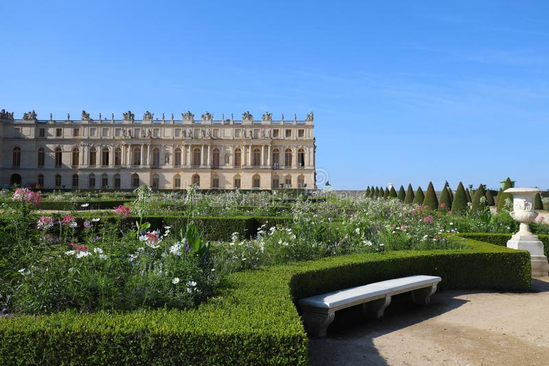 Outside view of Famous palace Versailles. The Palace Versailles was a royal castle. royalty free stock photography
