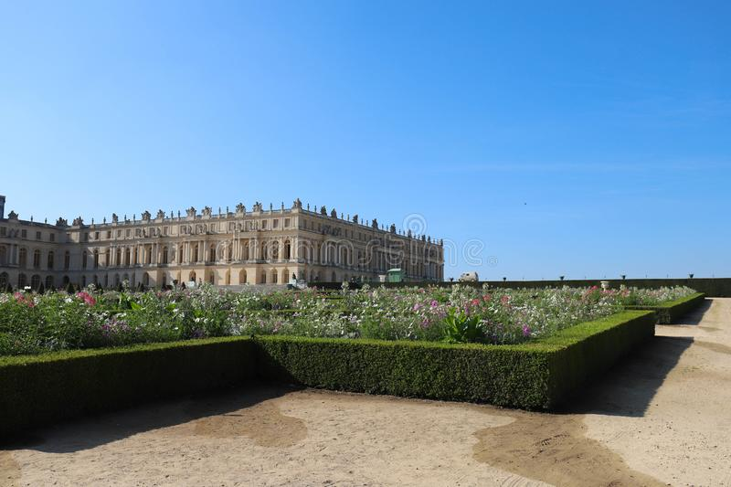 Outside view of Famous palace Versailles. The Palace Versailles was a royal castle. royalty free stock image